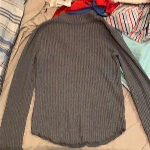 Gray turtleneck sweater